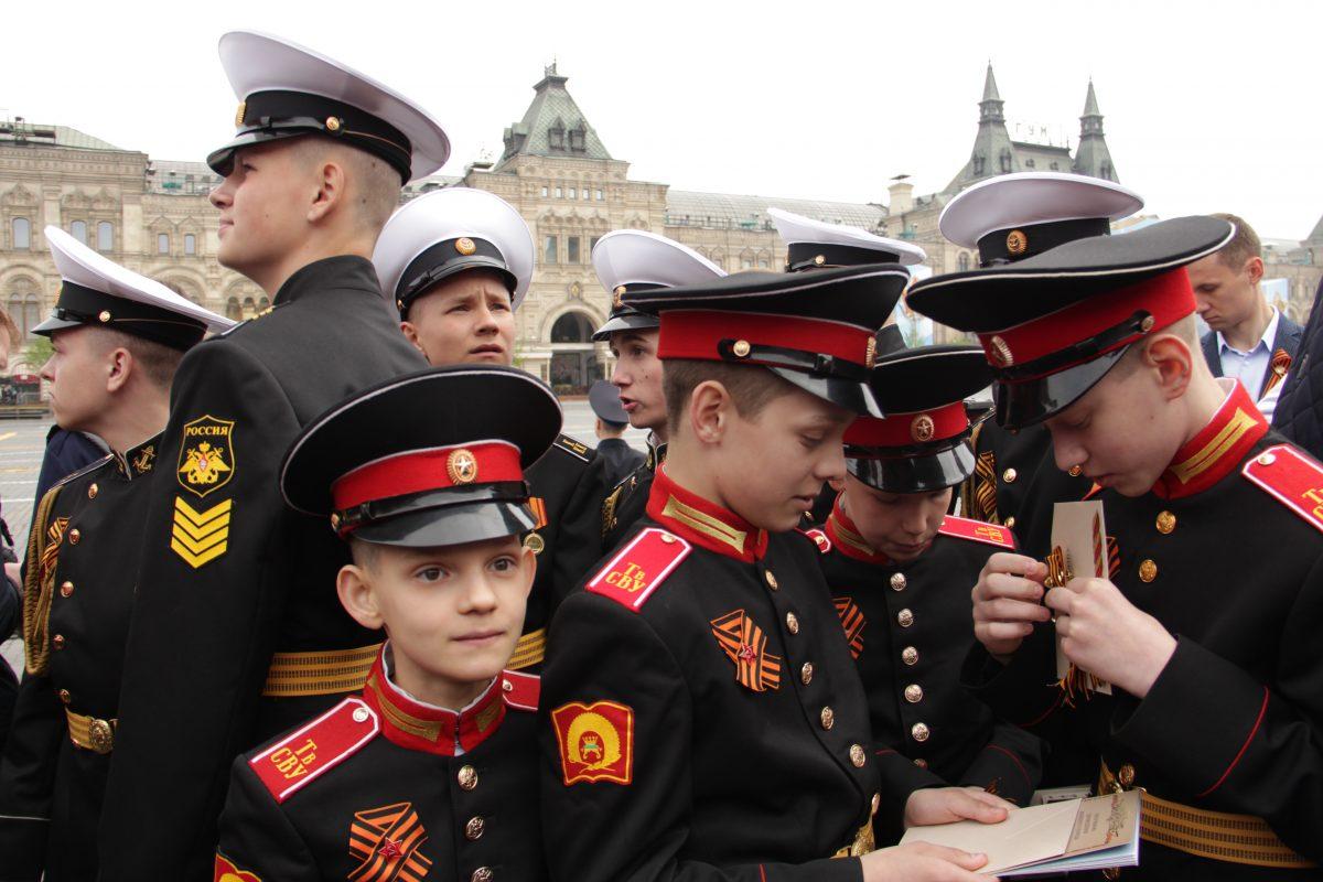 Парад Победы, военный, оркестр, Красная площадь, 2019, 9 мая, суворовцы